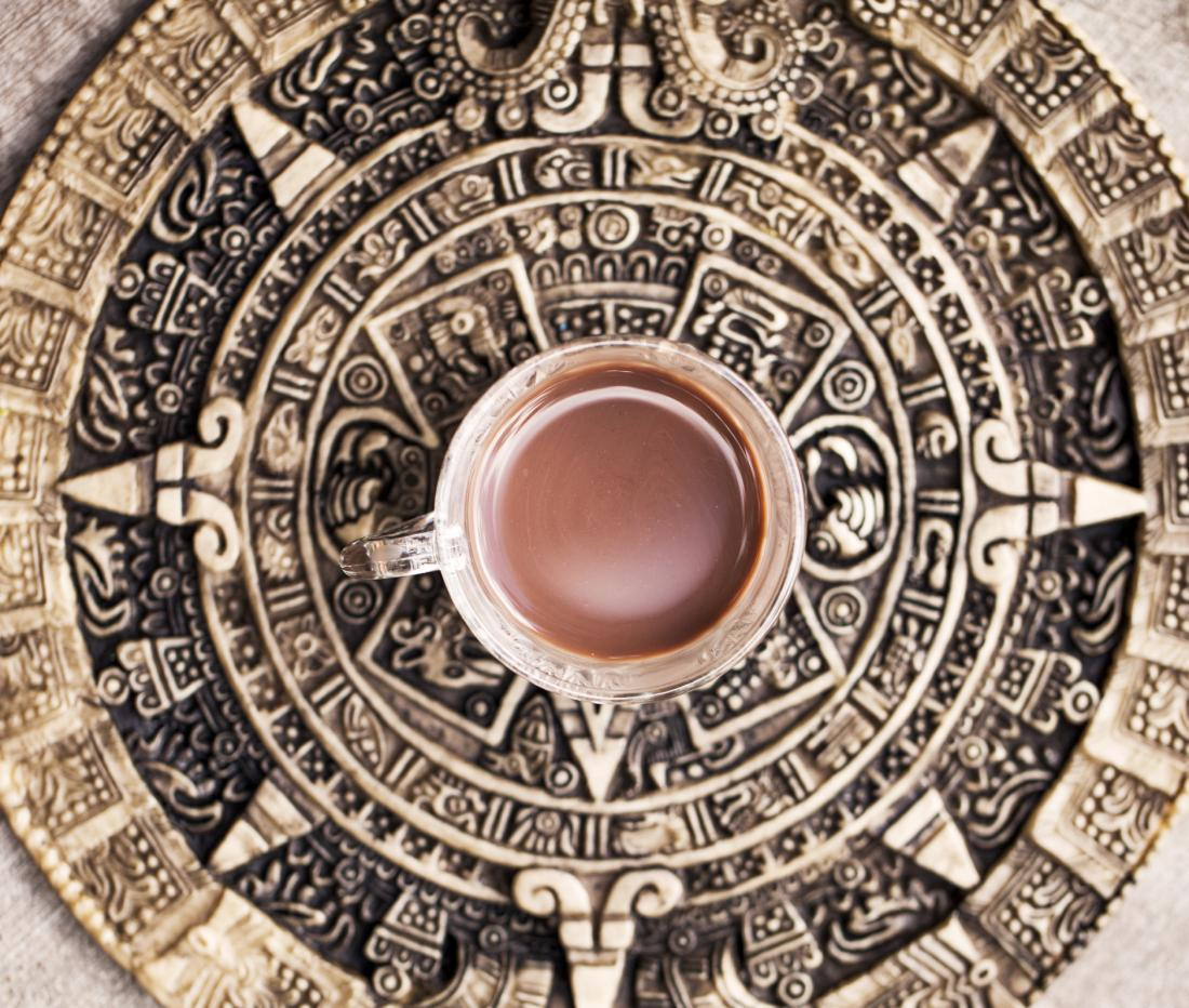 mug of hot chocolate on mayan backdrop