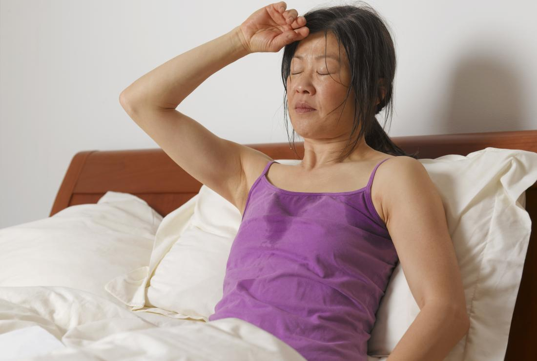 Woman in bed with night sweats