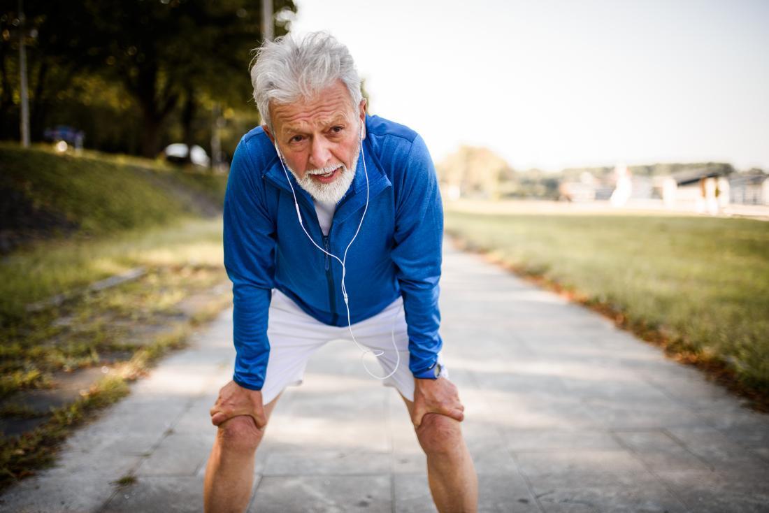 Senior man tired from running