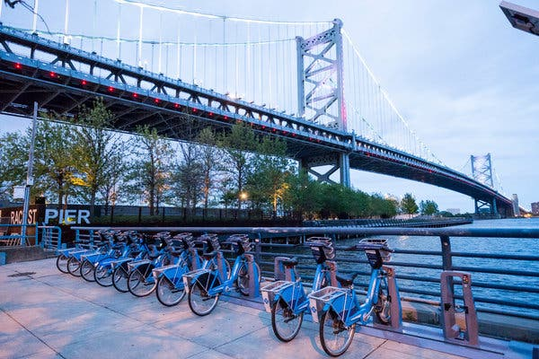 The bike-share station at Race Street Pier. Many attractions in Philadelphia can be handily visited on foot, by bike or mass transit.