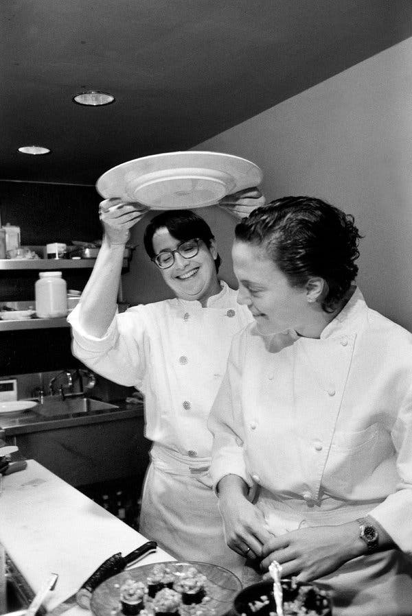 Ms. Gilmore with her fellow chef Traci Des Jardins. She welcomed new methods while holding on tightly to traditional ones.