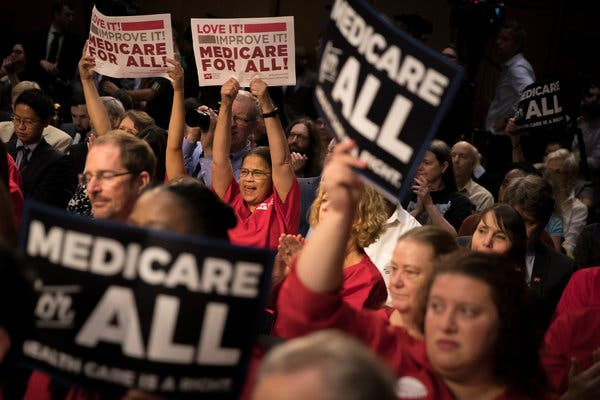 """Mr. Sanders discussed his """"Medicare for All"""" bill during a news conference before a throng of supporters at the Capitol in September 2017."""