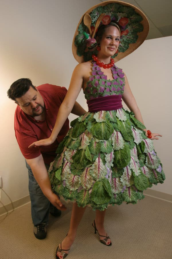 "Mr. March in 2006 with a dress he made out of vegetables, worn by the model Lindsey Mackey. ""It's one of the easier things I've done,"" he said."