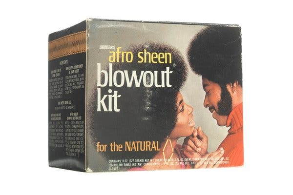 """Afro Sheen was one of the best-known items sold by Johnson Products.The Smithsonian's National Museum of American History has an """"Afro Sheen Blowout Kit"""" in its collection."""