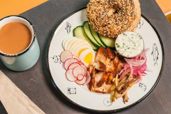 A smoked sable platter at Button & Co., which includes sumac-rubbed smoked fish, ramp cream cheese and a bagel that is baked and boiled with sorghum syrup.