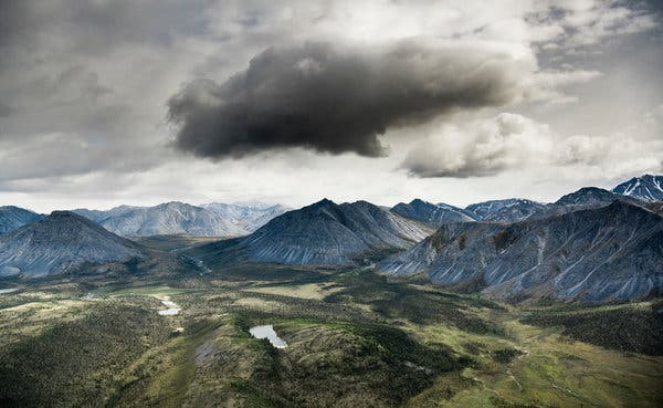 Aerial view of the southern edge of the Brooks Range mountains.