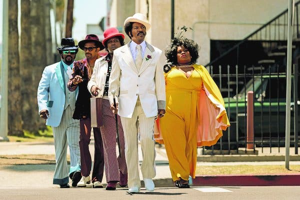 "From left: Craig Robinson, Mike Epps, Tituss Burgess, Eddie Murphy, center, and Da'Vine Joy Randolph in their ""Dolemite Is My Name"" finery."