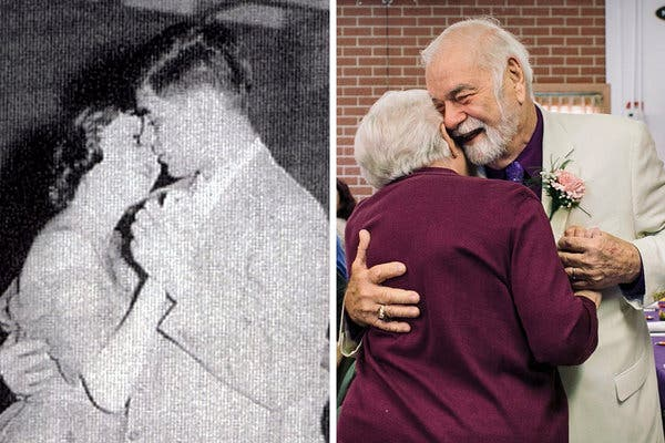 Their first slow dance, in 1956 at their junior prom — and the couple now.